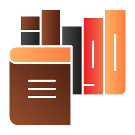 Books flat icon. Bookshelf color icons in trendy flat style. Library gradient style design, designed for web and app. Eps 10.