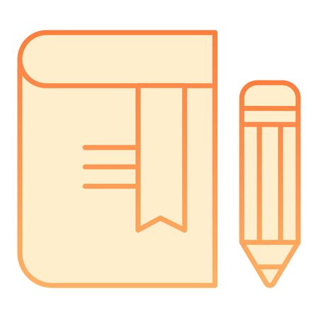 Book with pencil flat icon. Bookmark orange icons in trendy flat style. Knowledge gradient style design, designed for web and app. Eps 10.