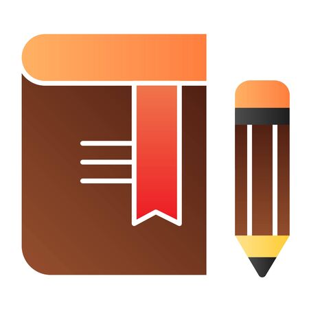 Book with pencil flat icon. Bookmark color icons in trendy flat style. Knowledge gradient style design, designed for web and app. Eps 10.