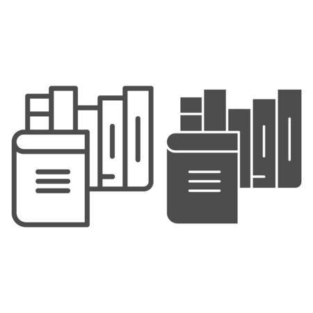Books line and glyph icon. Bookshelf vector illustration isolated on white. Library outline style design, designed for web and app. Eps 10.