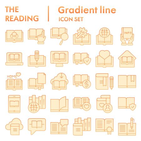 Reading flat icon set, books symbols collection, vector sketches, logo illustrations, education signs orange gradient pictograms package isolated on white background, eps 10.
