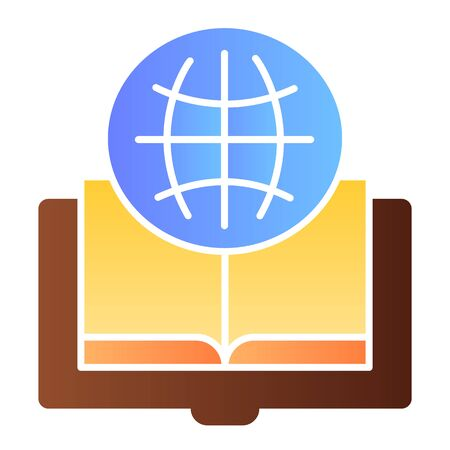 Foreign language book flat icon. Globe and book color icons in trendy flat style. Opened book gradient style design, designed for web and app. Eps 10. Stock Illustratie