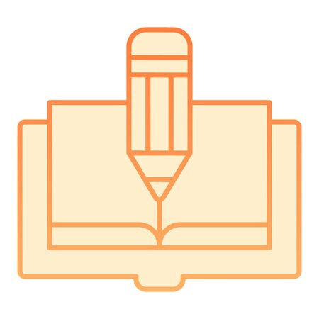Book and pencil flat icon. Book edit orange icons in trendy flat style. Knowledge gradient style design, designed for web and app. Eps 10.