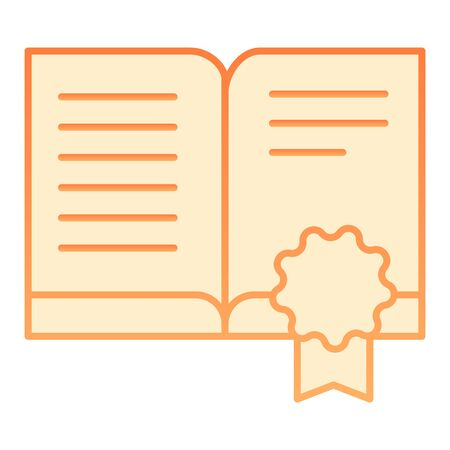 Certificate book flat icon. Approved book orange icons in trendy flat style. Certified literature gradient style design, designed for web and app. Eps 10. 向量圖像