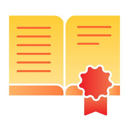 Certificate book flat icon. Approved book color icons in trendy flat style. Certified literature gradient style design, designed for web and app. Eps 10.