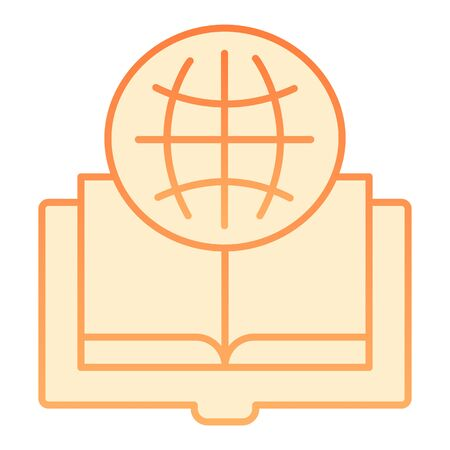 Foreign language book flat icon. Globe and book orange icons in trendy flat style. Opened book gradient style design, designed for web and app. Eps 10. Stock Illustratie