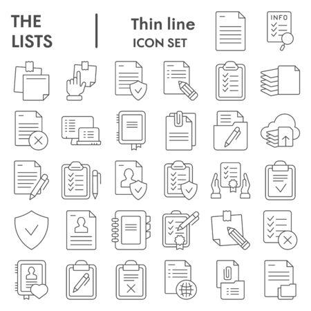 Répertorie le jeu d'icônes en ligne mince, la collection de symboles de documents, les croquis vectoriels, les illustrations de logo, le paquet de pictogrammes linéaires de signes en papier isolé sur fond blanc, eps 10.