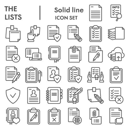 Lists line icon set, documents symbols collection, vector sketches, logo illustrations, paper signs linear pictograms package isolated on white background, eps 10.