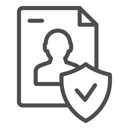 Approved personal document line icon. Checked identity vector illustration isolated on white. Paper outline style design, designed for web and app. Eps 10. Ilustración de vector