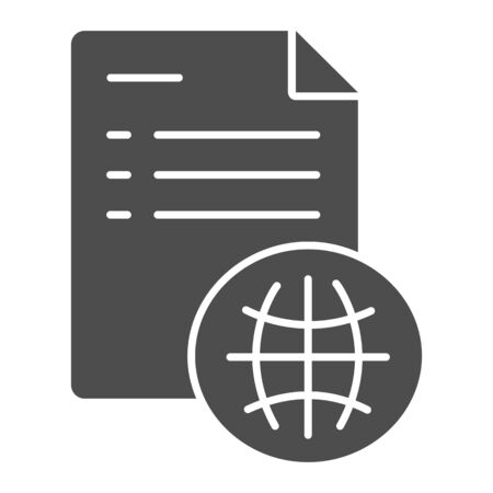 User agreement solid icon. Document with globe vector illustration isolated on white. List of obligations glyph style design, designed for web and app. Eps 10.