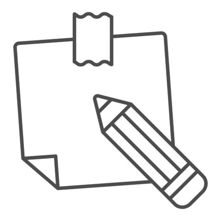 Sticky note thin line icon. Paper sticker vector illustration isolated on white. Notepaper and pencil outline style design, designed for web and app. Eps 10.