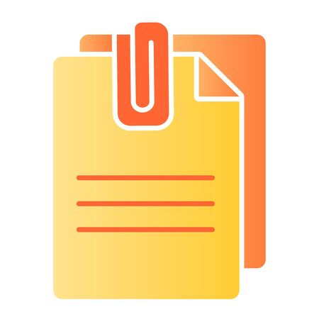 Attached document flat icon. Papers with clip color icons in trendy flat style. Sheets gradient style design, designed for web and app. Eps 10. Reklamní fotografie - 125080356