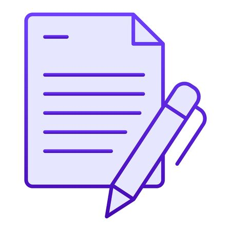 List and pen flat icon. Papers with pen blue icons in trendy flat style. Note gradient style design, designed for web and app. Eps 10. Ilustrace