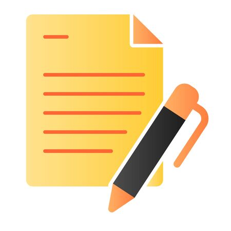 List and pen flat icon. Papers with pen color icons in trendy flat style. Note gradient style design, designed for web and app. Eps 10.