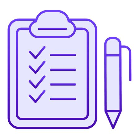 Checkboard and pen flat icon. Checklist with pen blue icons in trendy flat style. Note gradient style design, designed for web and app. Eps 10. Reklamní fotografie - 125080358