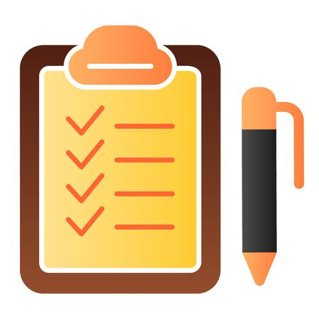 Checkboard and pen flat icon. Checklist with pen color icons in trendy flat style. Note gradient style design, designed for web and app. Eps 10.