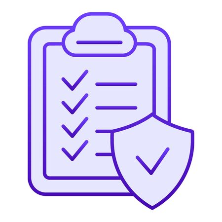 Approved document flat icon. Checkboard blue icons in trendy flat style. Verified list gradient style design, designed for web and app. Eps 10. Ilustrace