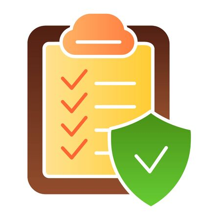 Approved document flat icon. Checkboard color icons in trendy flat style. Verified list gradient style design, designed for web and app. Eps 10. Ilustração