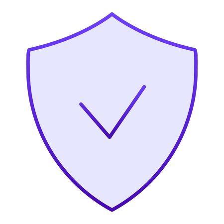 Verified emblem flat icon. Shield with check mark blue icons in trendy flat style. Guarantee gradient style design, designed for web and app. Eps 10. Reklamní fotografie - 125080364