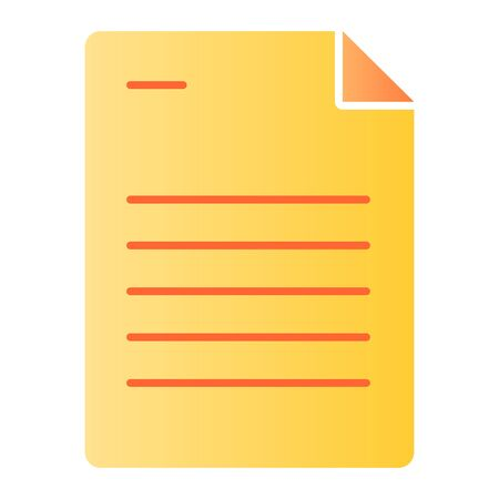 Paper sheet flat icon. Document color icons in trendy flat style. List gradient style design, designed for web and app. Eps 10.