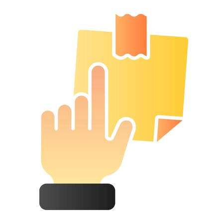 Hand pointing at sticky note flat icon. Finger pointing to paper sticke color icons in trendy flat style. Notepaper gradient style design, designed for web and app. Eps 10. Reklamní fotografie - 125080467