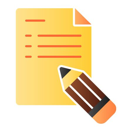 Note and pencil flat icon. Pencil and document color icons in trendy flat style. List gradient style design, designed for web and app. Eps 10. Reklamní fotografie - 125080472