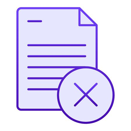 Document ban flat icon. Paper failure blue icons in trendy flat style. List with cross gradient style design, designed for web and app. Eps 10.