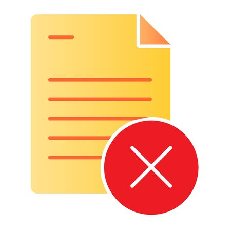 Document ban flat icon. Paper failure color icons in trendy flat style. List with cross gradient style design, designed for web and app. Eps 10.