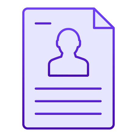 Personal document flat icon. Identification paper blue icons in trendy flat style. Sheet gradient style design, designed for web and app. Eps 10.