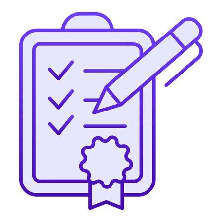 Achievment list flat icon. Checklist blue icons in trendy flat style. Verified certificate gradient style design, designed for web and app. Eps 10. Ilustrace