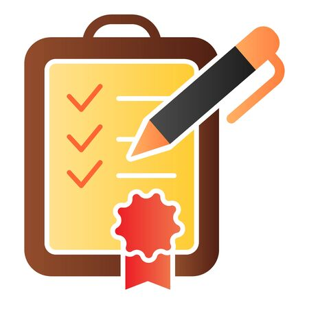 Achievment list flat icon. Checklist color icons in trendy flat style. Verified certificate gradient style design, designed for web and app. Eps 10. Ilustrace