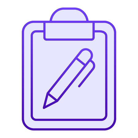 Clipboard and pen flat icon. Document with pen blue icons in trendy flat style. Note certificate gradient style design, designed for web and app. Eps 10.