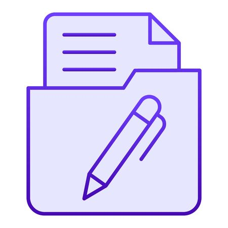 List in folder flat icon. Document with pen in folder blue icons in trendy flat style. Paper gradient style design, designed for web and app. Eps 10. Reklamní fotografie - 125080510
