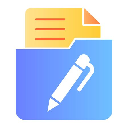List in folder flat icon. Document with pen in folder color icons in trendy flat style. Paper gradient style design, designed for web and app. Eps 10.