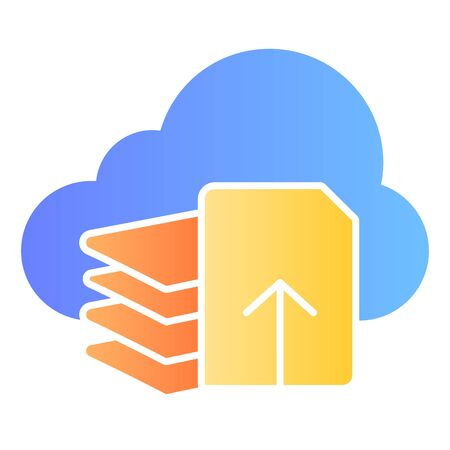Download files flat icon. Document download color icons in trendy flat style. List and cloud gradient style design, designed for web and app. Eps 10.