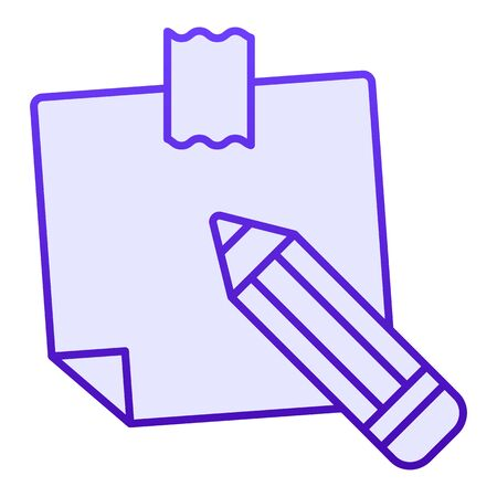 Sticky note flat icon. Paper sticker blue icons in trendy flat style. Notepaper and pencil gradient style design, designed for web and app. Eps 10.