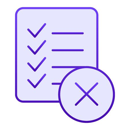 Checklist ban flat icon. List failure blue icons in trendy flat style. Document with cross gradient style design, designed for web and app. Eps 10.