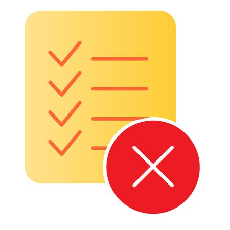 Checklist ban flat icon. List failure color icons in trendy flat style. Document with cross gradient style design, designed for web and app. Eps 10. Reklamní fotografie - 125080517