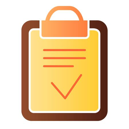 Clipboard done flat icon. Done list color icons in trendy flat style. Paper with check gradient style design, designed for web and app. Eps 10.