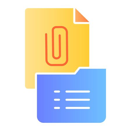 Clip on paper flat icon. Clip folder color icons in trendy flat style. List and folder gradient style design, designed for web and app. Eps 10.