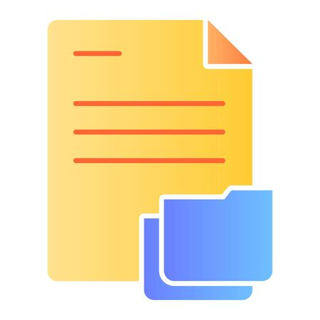 Document with folder flat icon. Papers in folder color icons in trendy flat style. Lists gradient style design, designed for web and app. Eps 10. Reklamní fotografie - 125080524