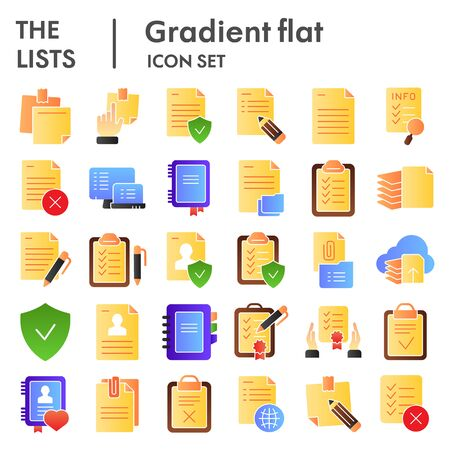 Lists flat icon set, documents symbols collection, vector sketches, logo illustrations, paper signs color gradient pictograms package isolated on white background, eps 10.