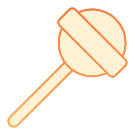 Lollipop on stick flat icon. Sweet food orange icons in trendy flat style. Candy stick gradient style design, designed for web and app. Eps 10. Ilustração