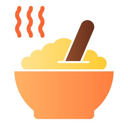 Porridge flat icon. Hot dish color icons in trendy flat style. Cereal gradient style design, designed for web and app. Eps 10. 일러스트