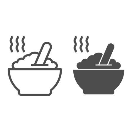Porridge line and glyph icon. Hot dish vector illustration isolated on white. Cereal outline style design, designed for web and app. Eps 10.