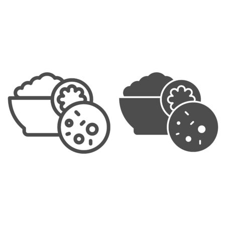 Salad olivier line and glyph icon. Russian cuisine vector illustration isolated on white. Plate of food outline style design, designed for web and app. Eps 10. Ilustracja