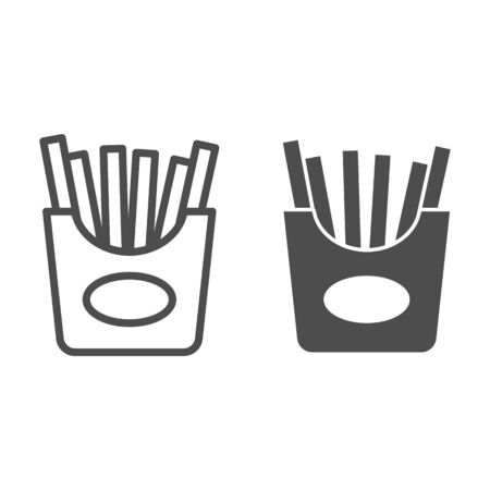 French fries line and glyph icon. Fast food vector illustration isolated on white. Fried potato outline style design, designed for web and app. Eps 10.