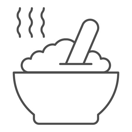 Porridge thin line icon. Hot dish vector illustration isolated on white. Cereal outline style design, designed for web and app. Eps 10.