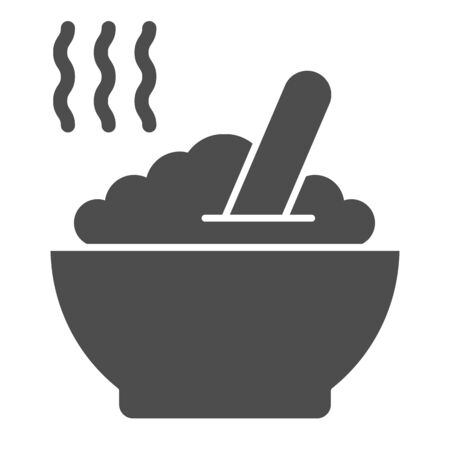 Porridge solid icon. Hot dish vector illustration isolated on white. Cereal glyph style design, designed for web and app. Eps 10.