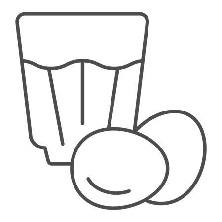 Eggnog thin line icon. Egg drink vector illustration isolated on white. Egg cocktail outline style design, designed for web and app. Eps 10. Illustration